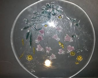 Reverse glass floral cake plate and bowl 2 pieces