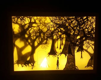 "Light Box ""Forest of Keys"" Shadow Puppet Style Scene"