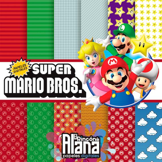 12 Mario Bros Run Digital Papers Extras Etsy