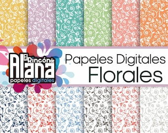 "12 Digital Papers 12 ""floral 300"