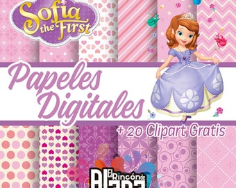 12. digital papers 12 x 12 Princess Sofia + 20 free Clipart
