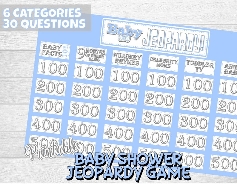 Baby Shower Jeopardy Game