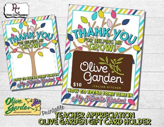Teacher Appreciation Olive Garden Gift Card Holder Teacher Etsy