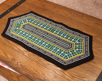 """Football!  Oblong football-field quilted table topper or coffee table décor - handmade - 12"""" by 29"""""""
