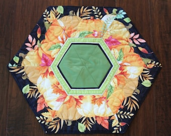"""Fall or Thanksgiving - Handmade, hexagon, quilted table topper or dresser scarf - Blessed Pumpkins - 21"""""""