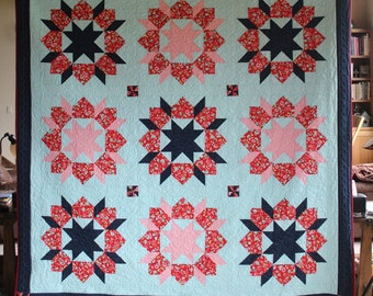 """Shine On Swoon - Handmade quilt, queen size - 90"""" by 91"""""""