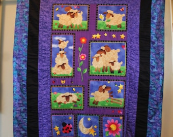 """Handmade Baby Quilt - Sweet Sheep - Large Size 44"""" by 55"""" - Snuggle-friendly fleece backing!"""