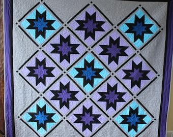 "Twilight Stars - Handmade quilt, queen size - 93"" by 94"""