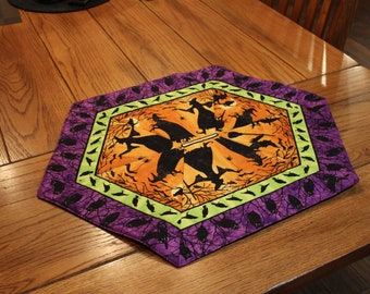 """Halloween!  Handmade, oblong, quilted table topper or dresser scarf - Witches, crows, and owls - 20"""" by 26"""""""