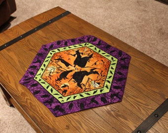 """Halloween!  Handmade, hexagon, quilted table topper or dresser scarf - Witches, crows, and owls - 20"""" across"""