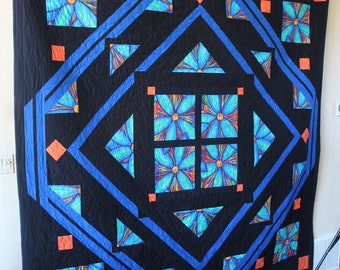 """Starburst Flowers - Handmade quilt, queen size - 94"""" by 96"""" - in bright and happy colors"""