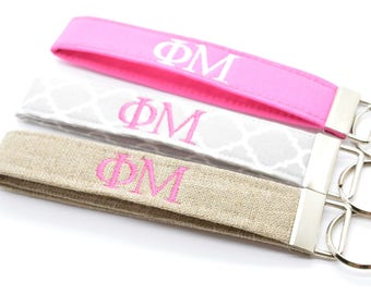 Officially Licensed Phi Mu Sorority Keychain Key Chain Fob Wristlet Greek Life Personalized Embroidered Choose Color!