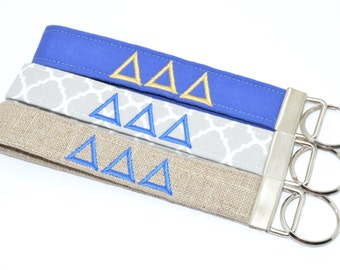 Officially Licensed Delta Delta Delta Sorority Keychain Key Chain Fob Wristlet Greek Life Personalized Embroidered
