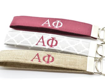 Officially Licensed Alpha Phi Sorority Keychain Key Chain Fob Wristlet Greek Life Personalized Embroidered Choose Color!