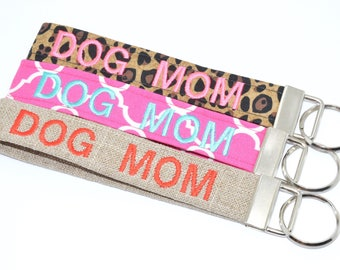 Dog Mom Personalized Key Chain Fob Wristlet Embroidered Choose Color Keychain