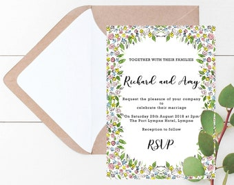 Blossom Wedding Stationary // Floral // Rustic // Invitations