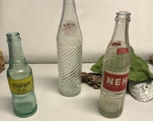 Vintage NuGrape Nehi Glass Bottles - Clear Glass Soda Bottles - Collectible Glass