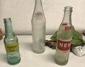 Vintage NuGrape Nehi Glass Bottles - Antique Clear Glass Soda Bottles - Collectible Soda Bottles