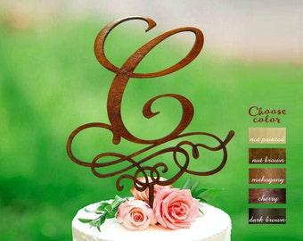wedding cake topper letter c cake topper rustic cake topper natural wood cake topper cake topper letter monogram cake topper ct349