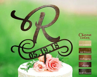 letter r cake topper rustic cake toppers for wedding letter cake topper wood cake topper cake topper r custom cake topper date ct306