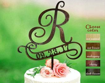 letter r cake topper wedding cake topper cake toppers for wedding initial cake topper cake topper r letter cake topper date ct215