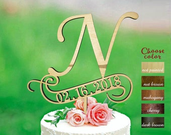 letter n cake topper cake toppers for wedding letter and date wedding topper initial cake topper cake topper n cake topper date ct361