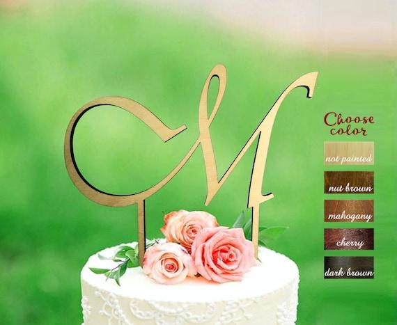 M Cake Topper Letter Cake Topper Rustic Cake Topper Cake Etsy