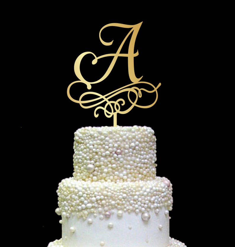 monogram cake toppers rustic cake topper Letter A cake topper letters cake topper gold initial cake topper CT#240 wedding cake topper