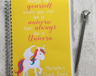 Slimming World Friendly - Food Planner Diary - Diet Tracker - Food Log - 8 Week / 12 Week Planner - Be A Unicorn - Personalised