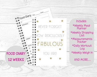 Slimming World Friendly Food Planner Diary or A5 Inserts, SW Diet Tracker Food Log, 8 Week or 12 Week Planner - Ridiculously Fabulous