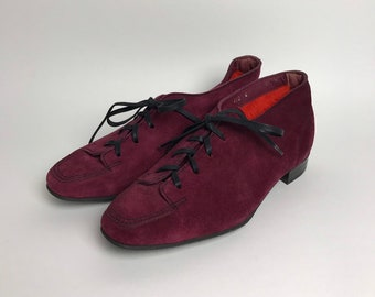 92f22f61308 Vintage français chaussures 80 s chaussures petites chaussures de taille  daim chaussons violet Oxford chaussures daim Oxford daim chaussure  dentelle Made in ...