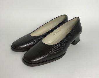 2749db2c162 80s block heel pump   brown leather shoes women   80s square toe pumps