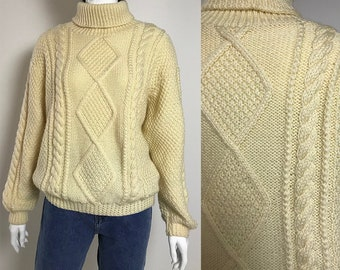 8d007c74382413 Off white aran sweater vintage / 90s white chunky sweater / loose fit hand  knit cable sweater