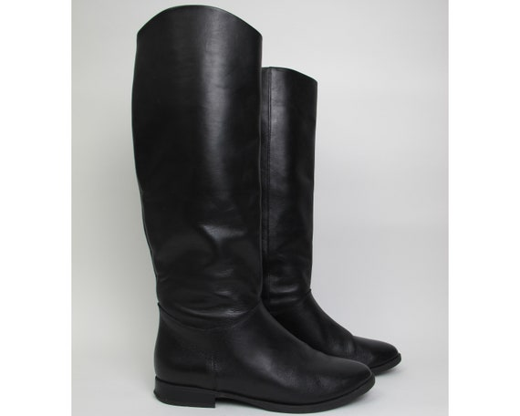 Black riding boots / 90s equestrian boots / black