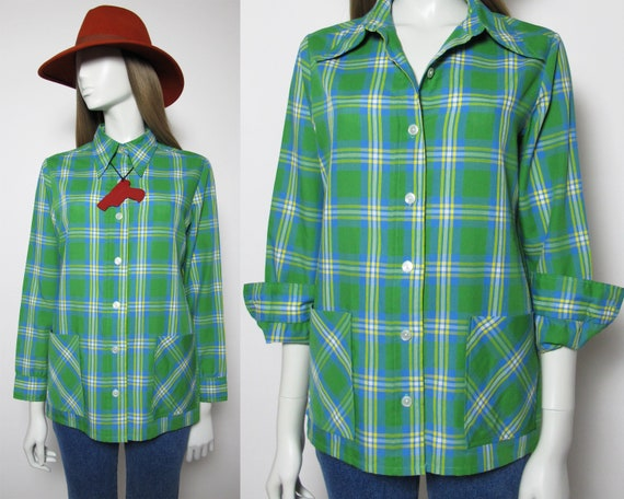 70s check shirt / 70s green blouse / 70s butterfly