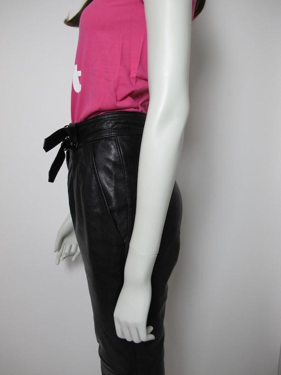 80s leather pants / high waisted pants / black le… - image 6