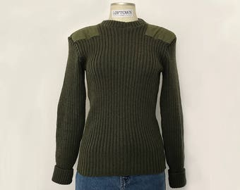 Vintage LLBean military sweater / army sweater / khaki sweater / vintage ribbed sweater / green sweater / wool sweater / made in UK