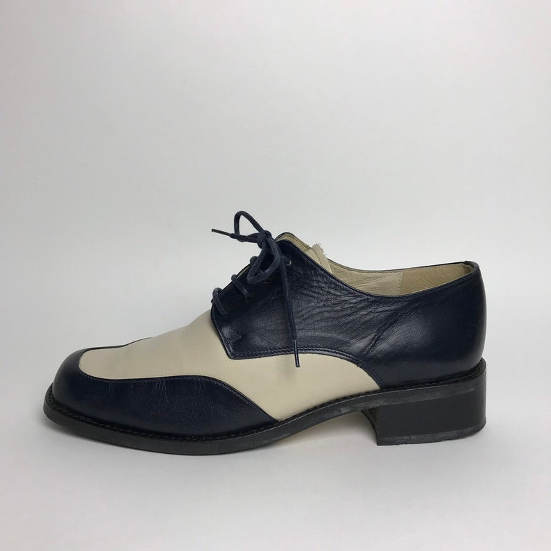 dba4564389dbb Blue white shoes / 80s oxfords women / square toe shoes