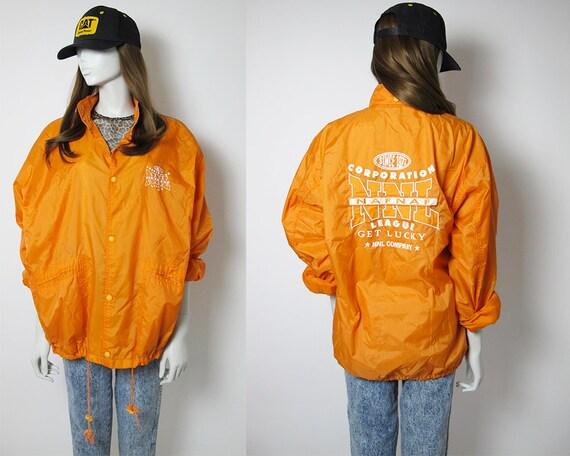 Naf Naf / 90s orange windbreaker / 90s back embroi