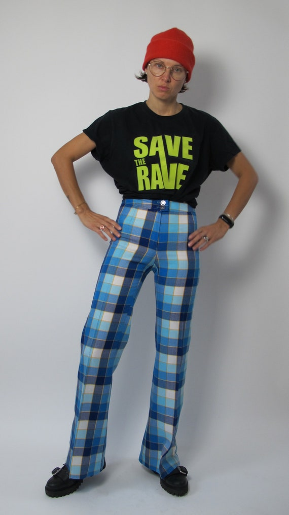 Rave check pants / 70s bell bottom pants / 70s ch… - image 2