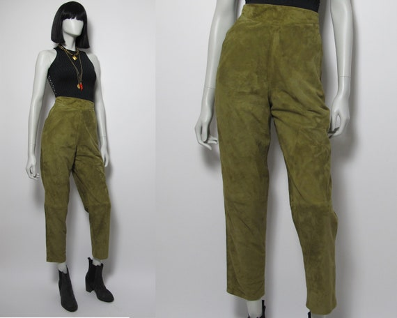 Green suede pants / 80s pegged leather pants / 80s