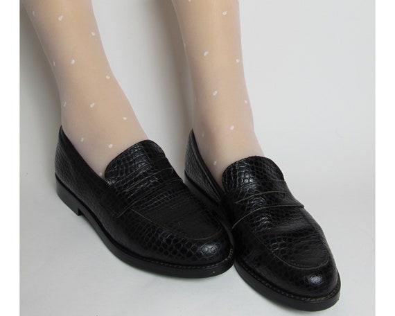 80s black loafers / animal print loafers / black l