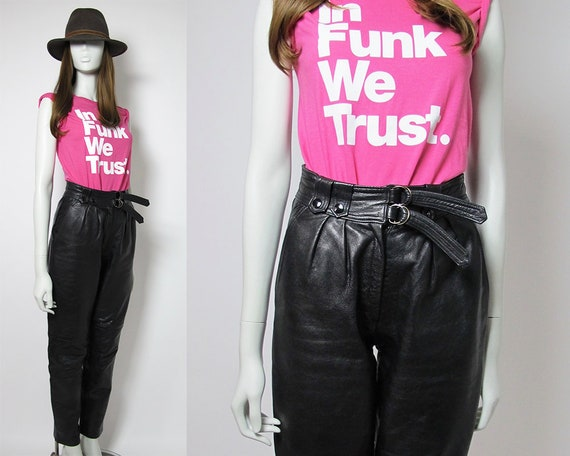 80s leather pants / high waisted pants / black lea