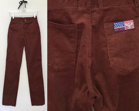 buy in stock sold worldwide 70s corduroy pants / corduroy jeans women / brown corduroy pants