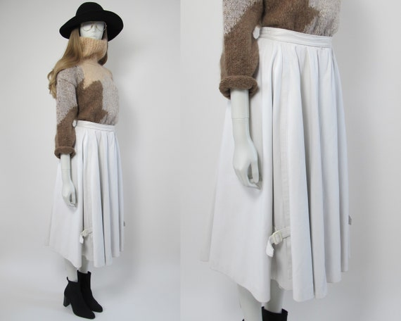 80s white leather skirt / 80s boho leather skirt /