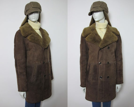 80s brown sheepskin jacket / 80s suede sheepskin c