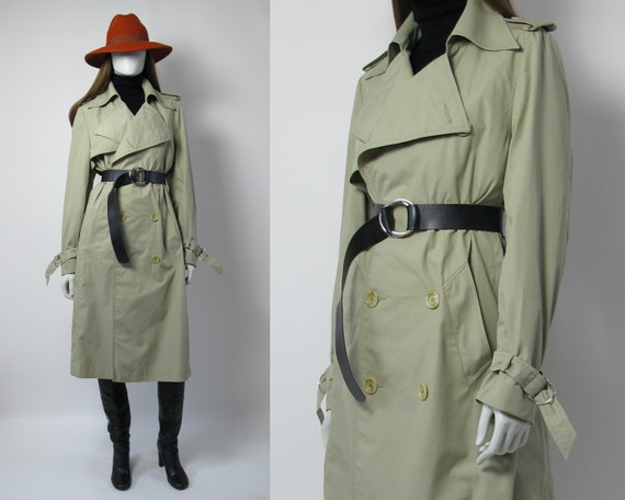 70s trench coat / 70s double breasted trench / 70s