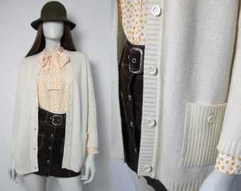 80s white v-neck cardigan / 80s wool knit cardigan women / 80s ribbed knitted cardigan