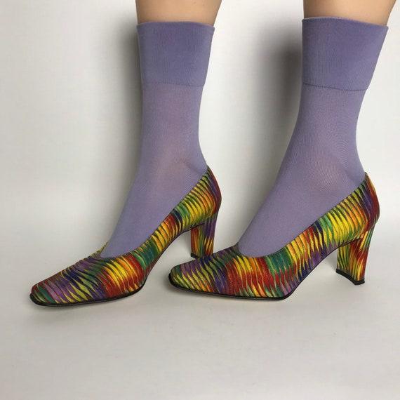 Rainbow pumps / square toe shoes / lgbt shoes