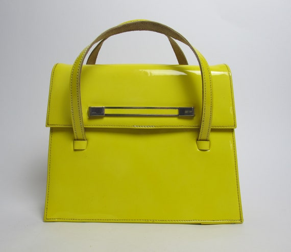 RARE / 60s yellow top handle bag / 60s yellow mini